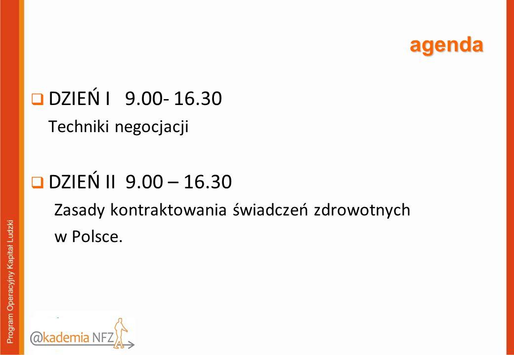 agenda  DZIEŃ I 9.00- 16.30 Techniki negocjacji  DZIEŃ II 9.00 – 16.30 Zasady kontraktowania świadczeń zdrowotnych w Polsce.