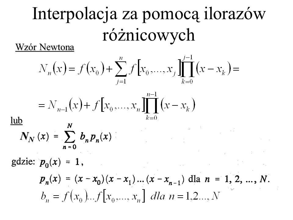 Interpolacja za pomocą ilorazów różnicowych Wzór Newtona lub NNNNNNNN