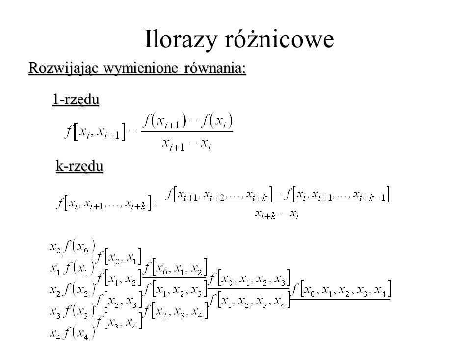 Ilorazy różnicowe Rozwijając wymienione równania: 1-rzędu k-rzędu