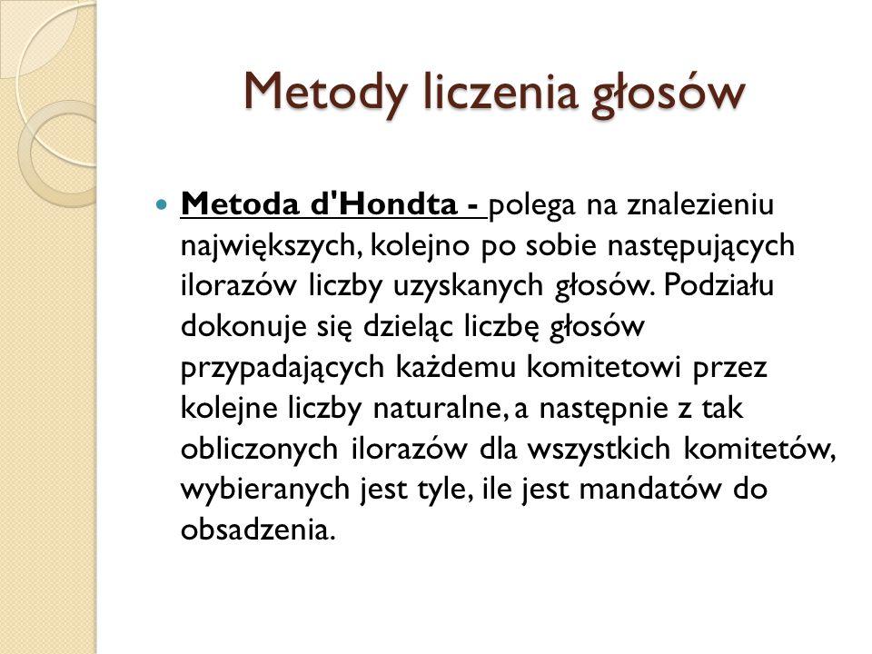 Metody liczenia głosów Metoda d'Hondta - polega na znalezieniu największych, kolejno po sobie następujących ilorazów liczby uzyskanych głosów. Podział