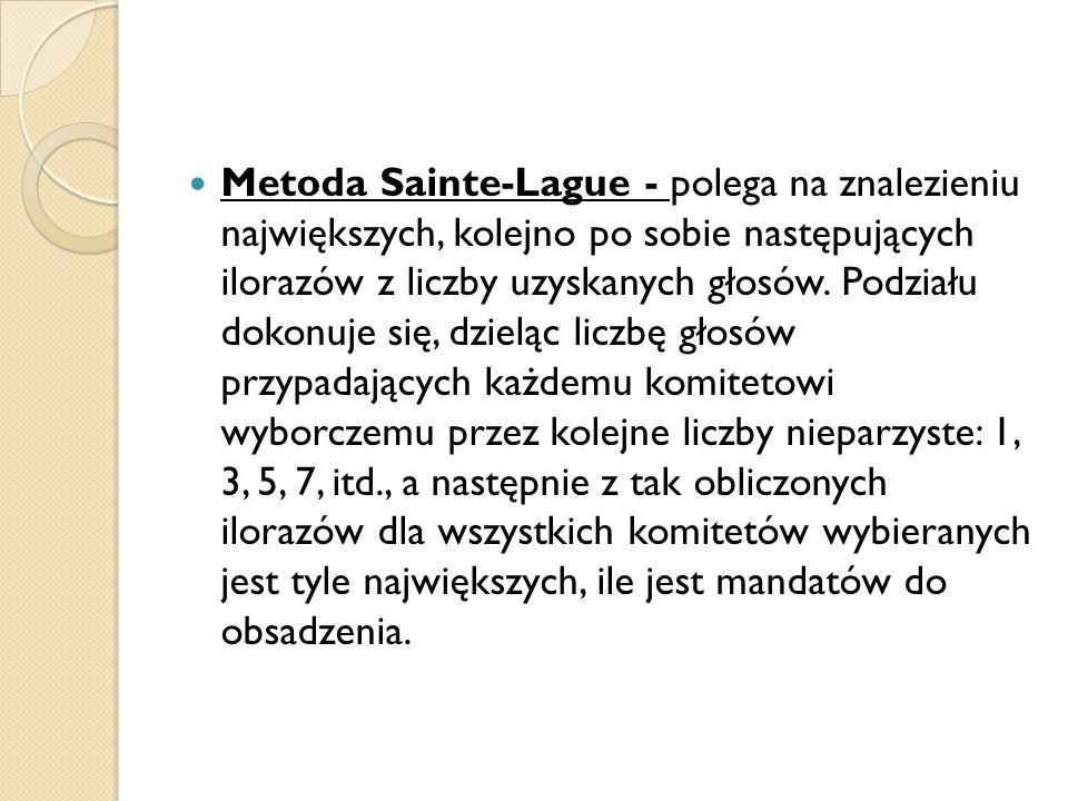 Metoda Sainte-Lague - polega na znalezieniu największych, kolejno po sobie następujących ilorazów z liczby uzyskanych głosów. Podziału dokonuje się, d