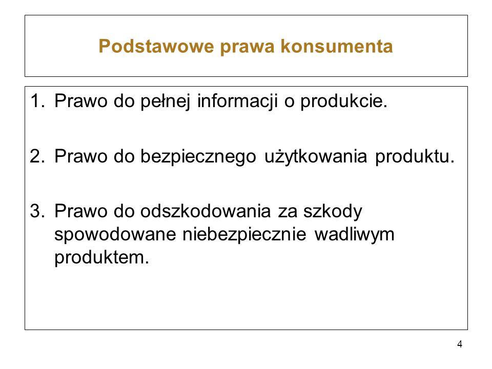 Podstawowe prawa konsumenta 1.Prawo do pełnej informacji o produkcie. 2.Prawo do bezpiecznego użytkowania produktu. 3.Prawo do odszkodowania za szkody