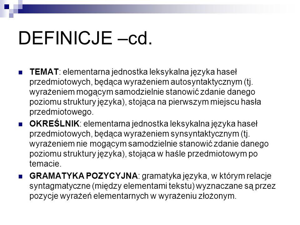 DEFINICJE –cd.