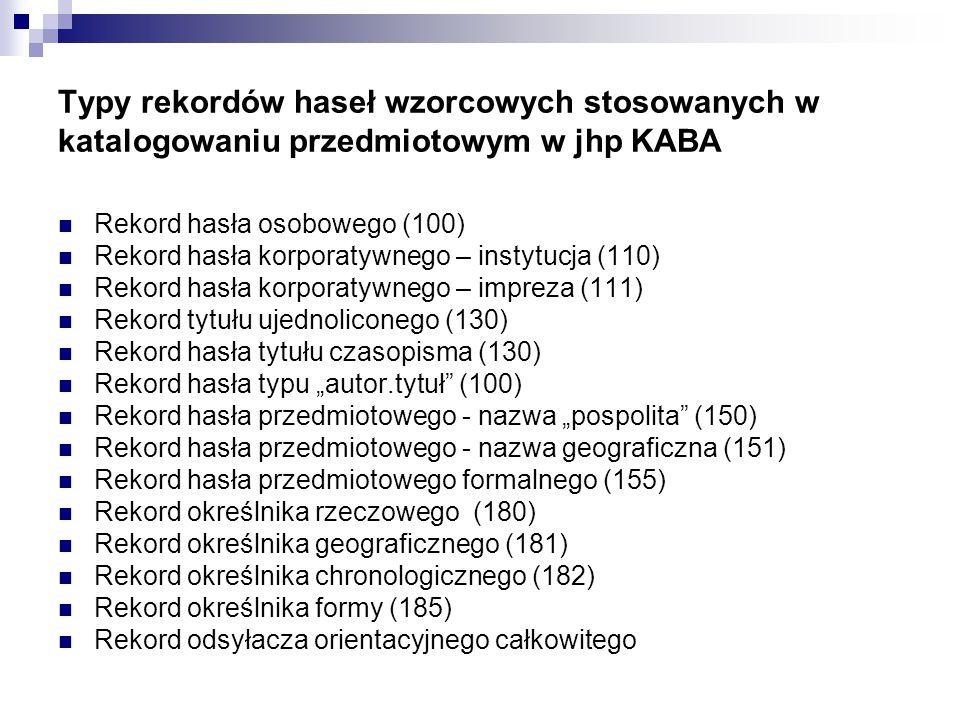 """Elementy struktury rekordu khw (dla jhp KABA) w formacie MARC21 Etykieta rekordu 008 [Dane kontrolne] 073[Kod listy określników] 1XX [Hasło rekordu] 260[Odsyłacz orientacyjny całkowity, """"zob. ] 360 [Odsyłacz orientacyjny uzupełniający, """"zob."""