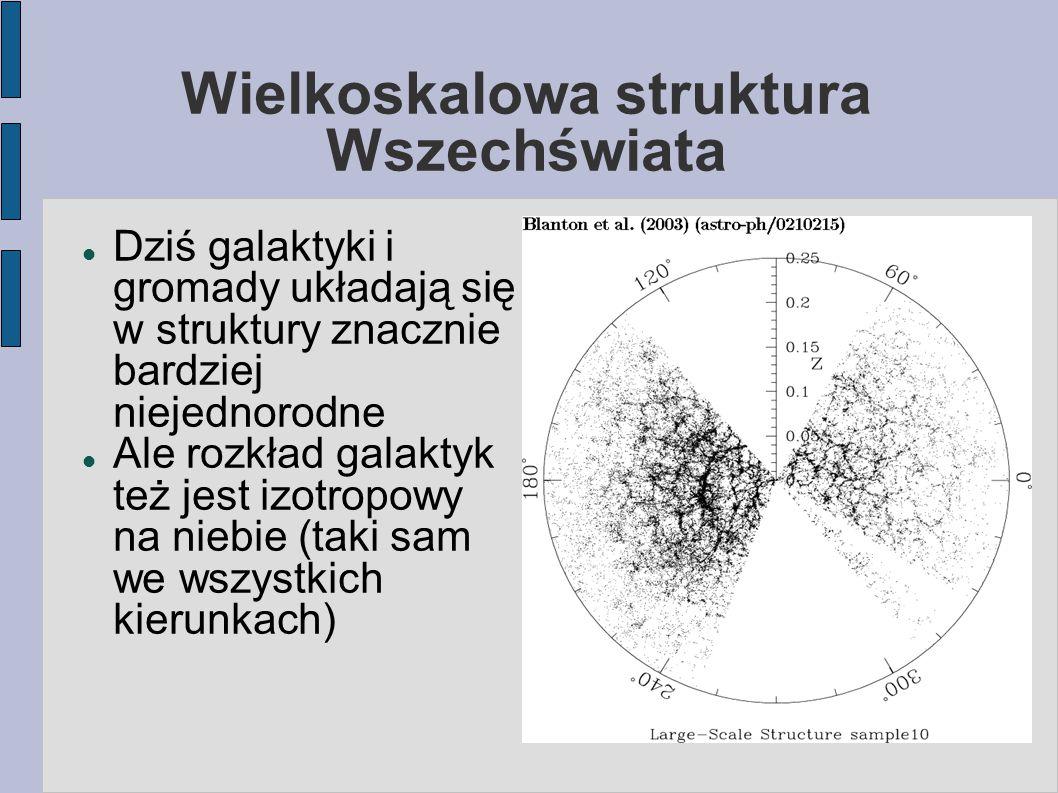 Wielkoskalowa struktura Wszechświata Dziś galaktyki i gromady układają się w struktury znacznie bardziej niejednorodne Ale rozkład galaktyk też jest izotropowy na niebie (taki sam we wszystkich kierunkach)