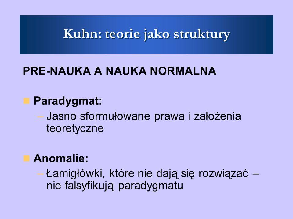 Kuhn: teorie jako struktury PRE-NAUKA A NAUKA NORMALNA Paradygmat: –Jasno sformułowane prawa i założenia teoretyczne Anomalie: –Łamigłówki, które nie dają się rozwiązać – nie falsyfikują paradygmatu