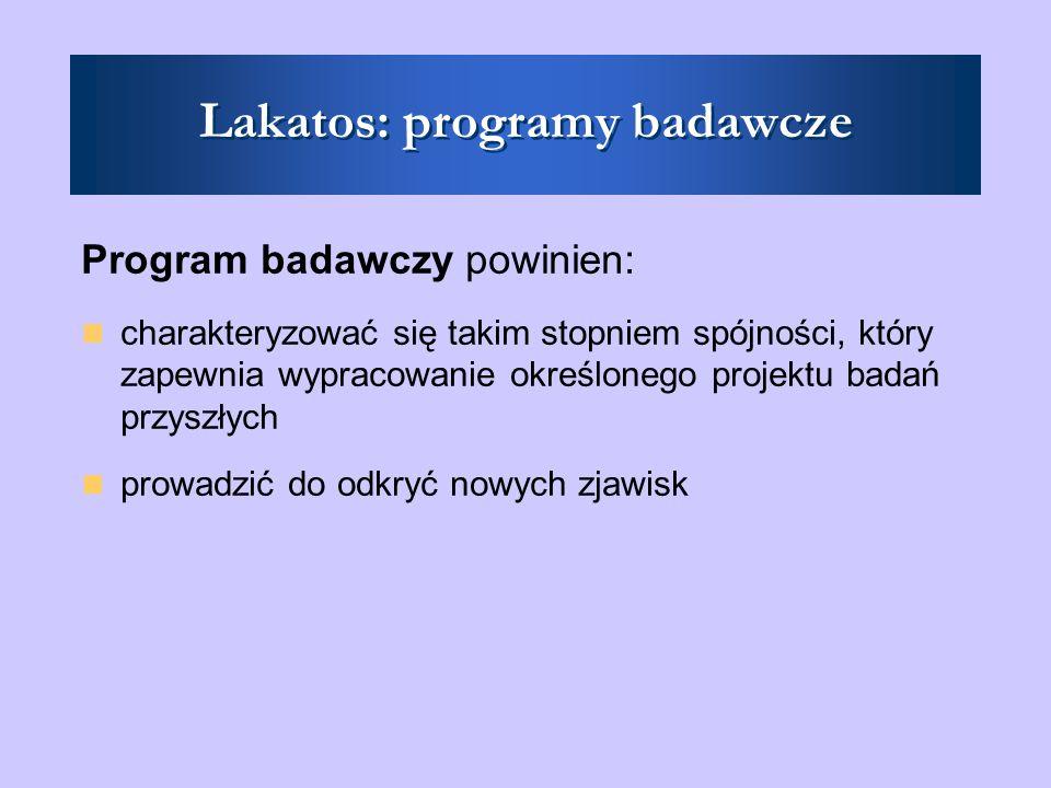 Lakatos: programy badawcze Praca w ramach jednego programu: - rozszerzanie i modyfikowanie pasa ochronnego - formułowanie hipotez (o ile nie są one ad hoc)