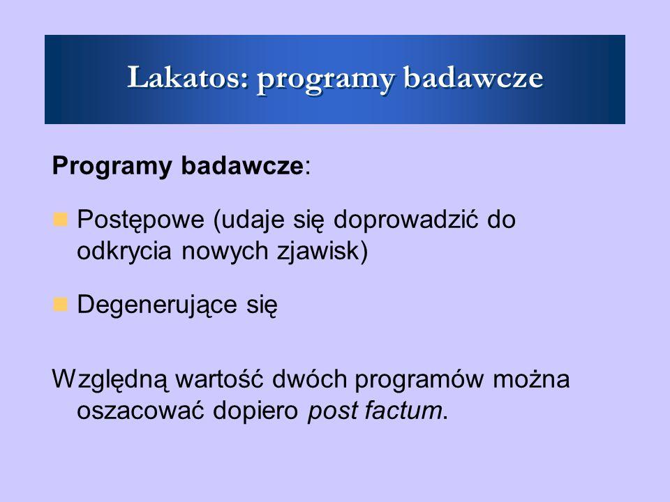 Lakatos: programy badawcze Programy badawcze: Postępowe (udaje się doprowadzić do odkrycia nowych zjawisk) Degenerujące się Względną wartość dwóch programów można oszacować dopiero post factum.
