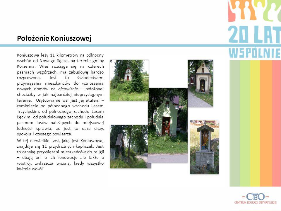 Położenie Koniuszowej Koniuszowa leży 11 kilometrów na północny wschód od Nowego Sącza, na terenie gminy Korzenna.