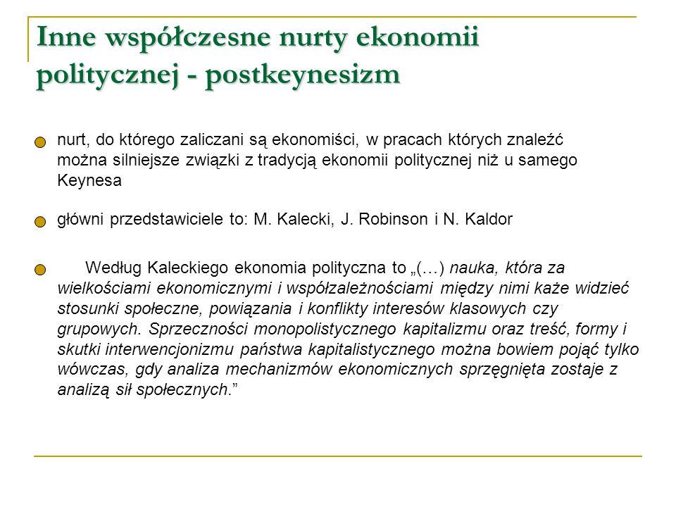 Inne współczesne nurty ekonomii politycznej - postkeynesizm nurt, do którego zaliczani są ekonomiści, w pracach których znaleźć można silniejsze związ
