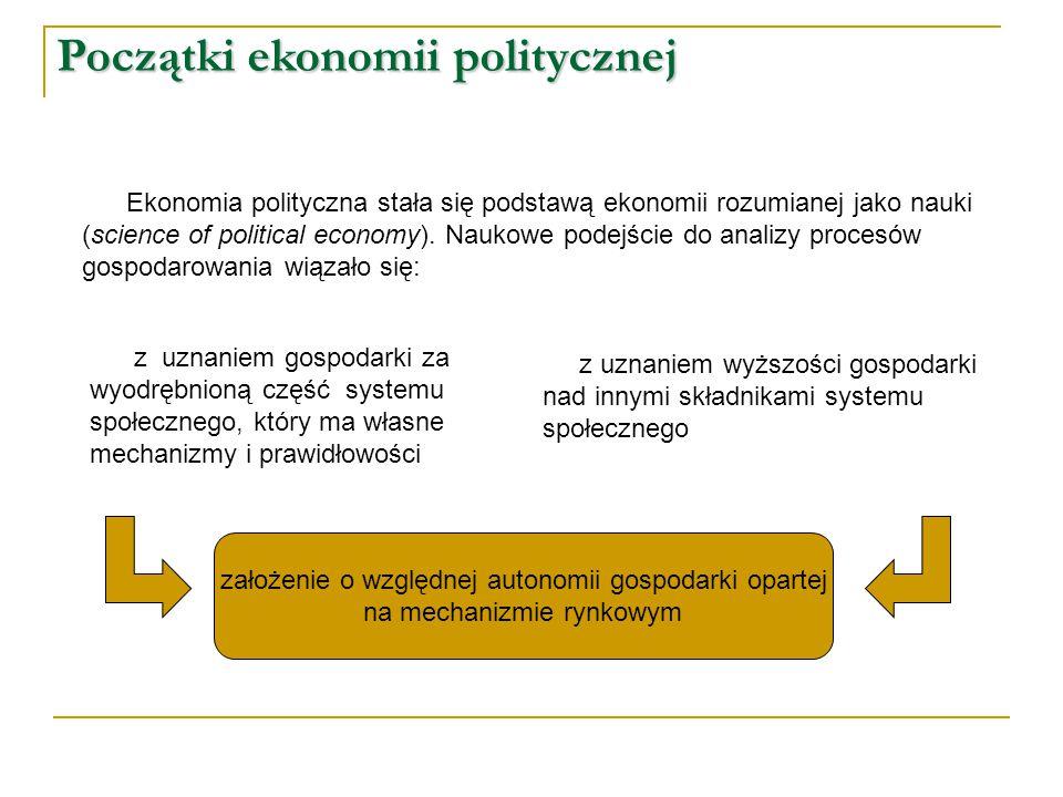 Początki ekonomii politycznej Ekonomia polityczna stała się podstawą ekonomii rozumianej jako nauki (science of political economy). Naukowe podejście