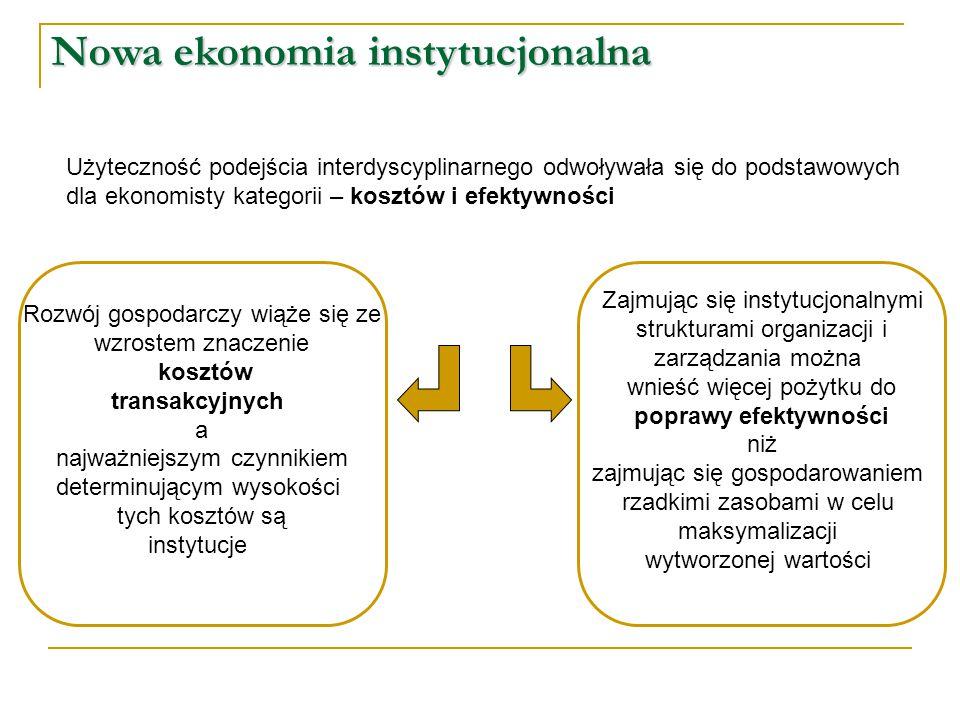 Nowa ekonomia instytucjonalna Użyteczność podejścia interdyscyplinarnego odwoływała się do podstawowych dla ekonomisty kategorii – kosztów i efektywno