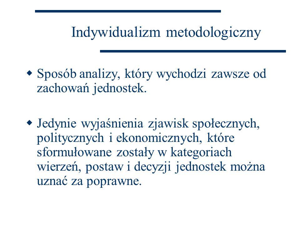 Holizm metodologiczny  Społeczne całości mają cele lub funkcje nieredukowalne do wierzeń, postaw i działań je tworzących.