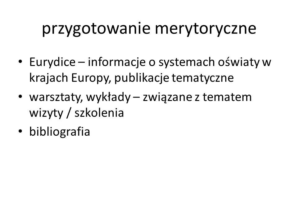 przygotowanie merytoryczne Eurydice – informacje o systemach oświaty w krajach Europy, publikacje tematyczne warsztaty, wykłady – związane z tematem wizyty / szkolenia bibliografia