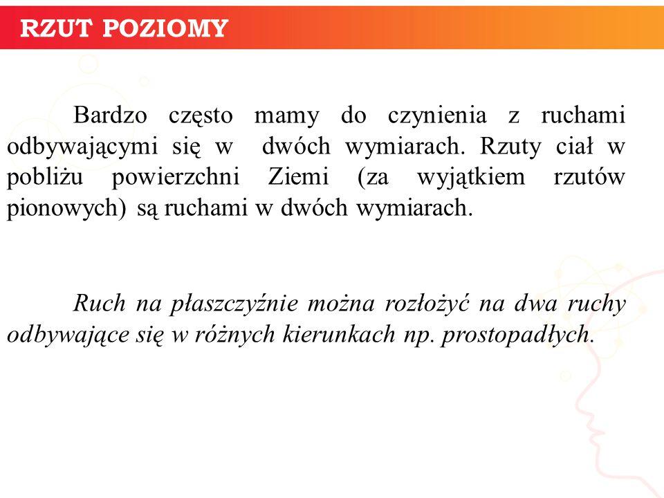 RZUT POZIOMY W rzucie poziomym mamy do czynienia z lotem ciała wyrzuconego na pewnej wysokości Y 0 nad poziomem zerowym.