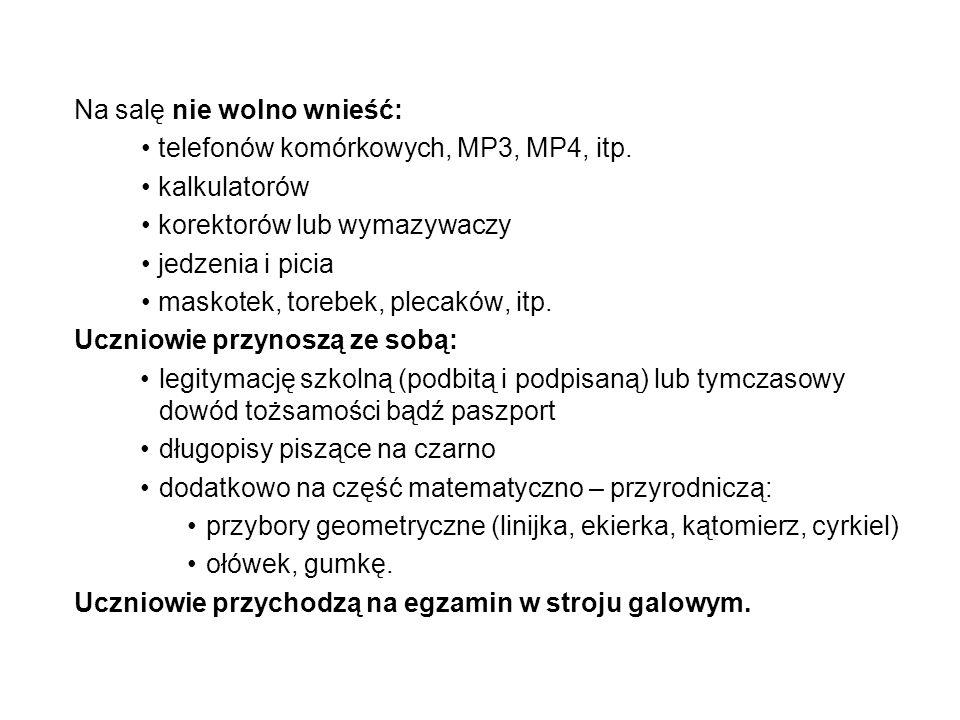 EGZAMIN GIMNAZJALNY W ROKU SZKOLNYM 2014/2015 Struktura egzaminu gimnazjalnego Egzamin gimnazjalny składa się z 3 części, a każda z nich z dwóch zakresów: 1.część humanistyczna język polski historia i wiedza o społeczeństwie 2.