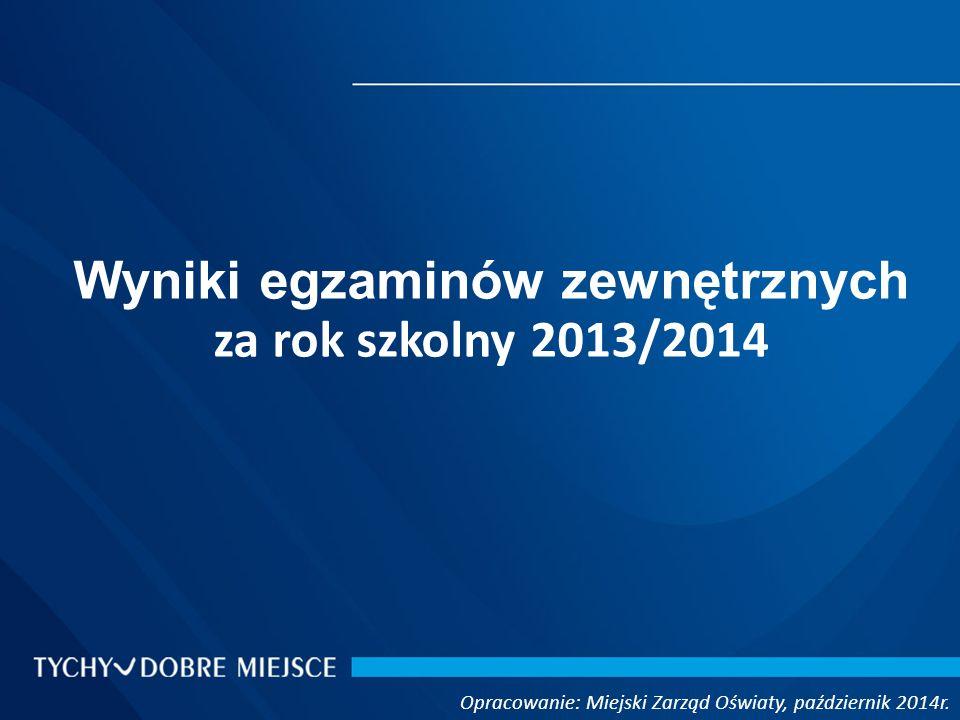 Opracowanie: Miejski Zarząd Oświaty, październik 2014r. Wyniki egzaminów zewnętrznych za rok szkolny 2013/2014