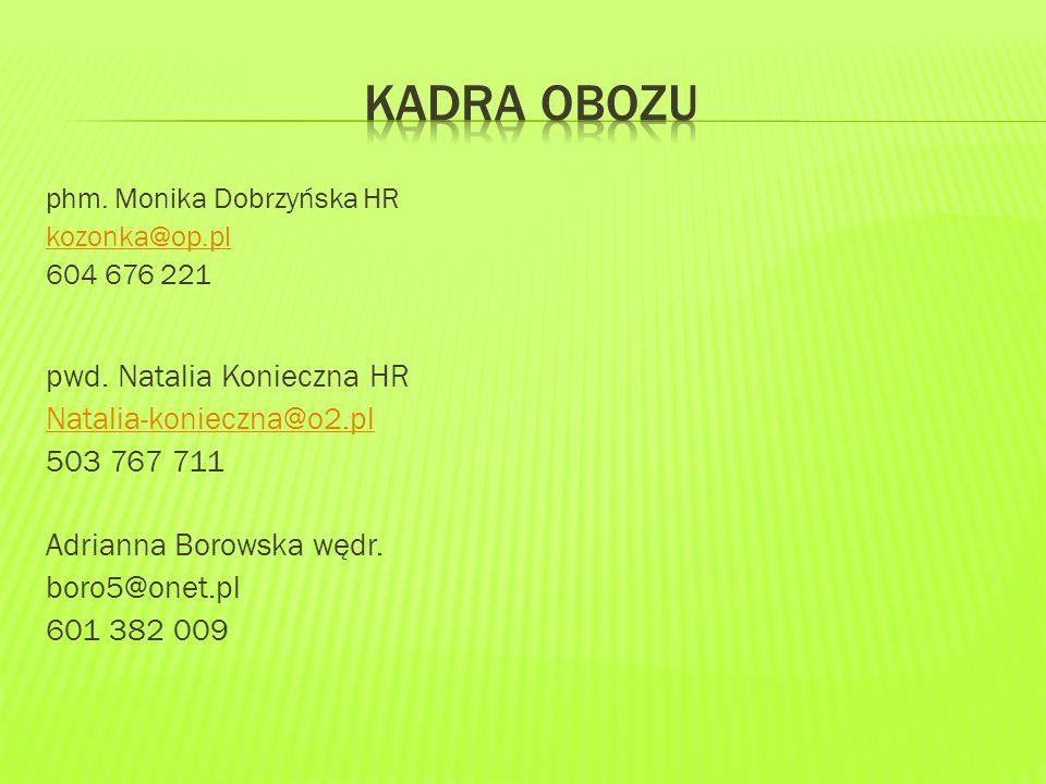 phm. Monika Dobrzyńska HR kozonka@op.pl 604 676 221 pwd.