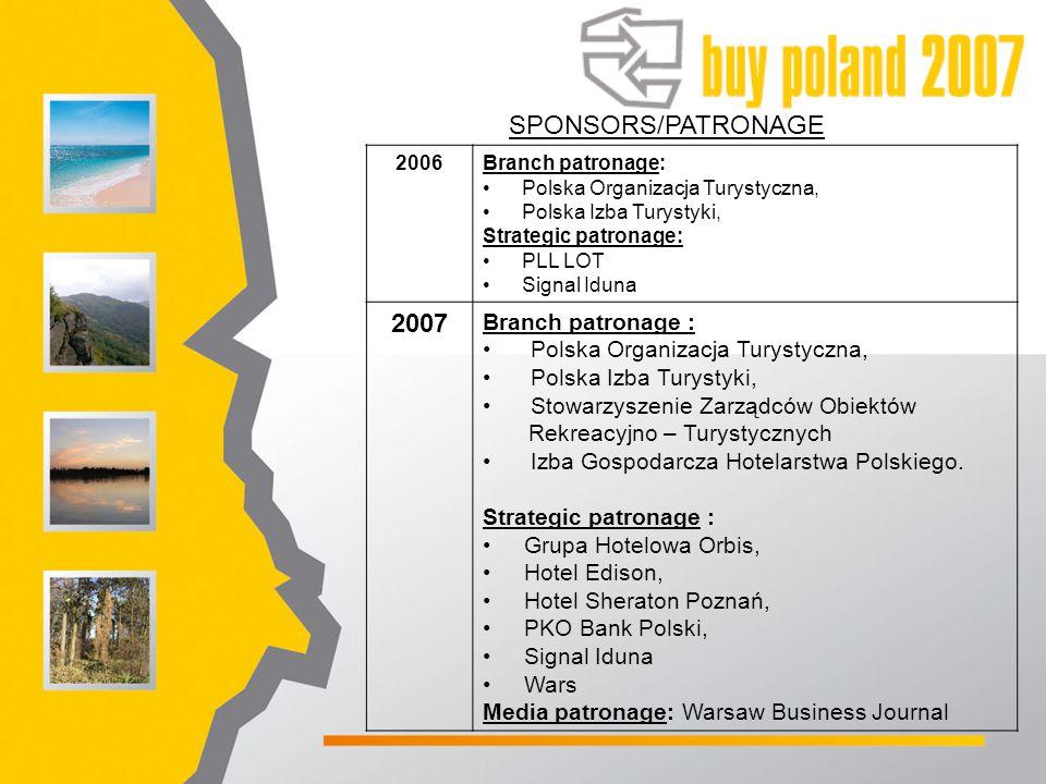 SPONSORS/PATRONAGE 2006Branch patronage: Polska Organizacja Turystyczna, Polska Izba Turystyki, Strategic patronage: PLL LOT Signal Iduna 2007 Branch