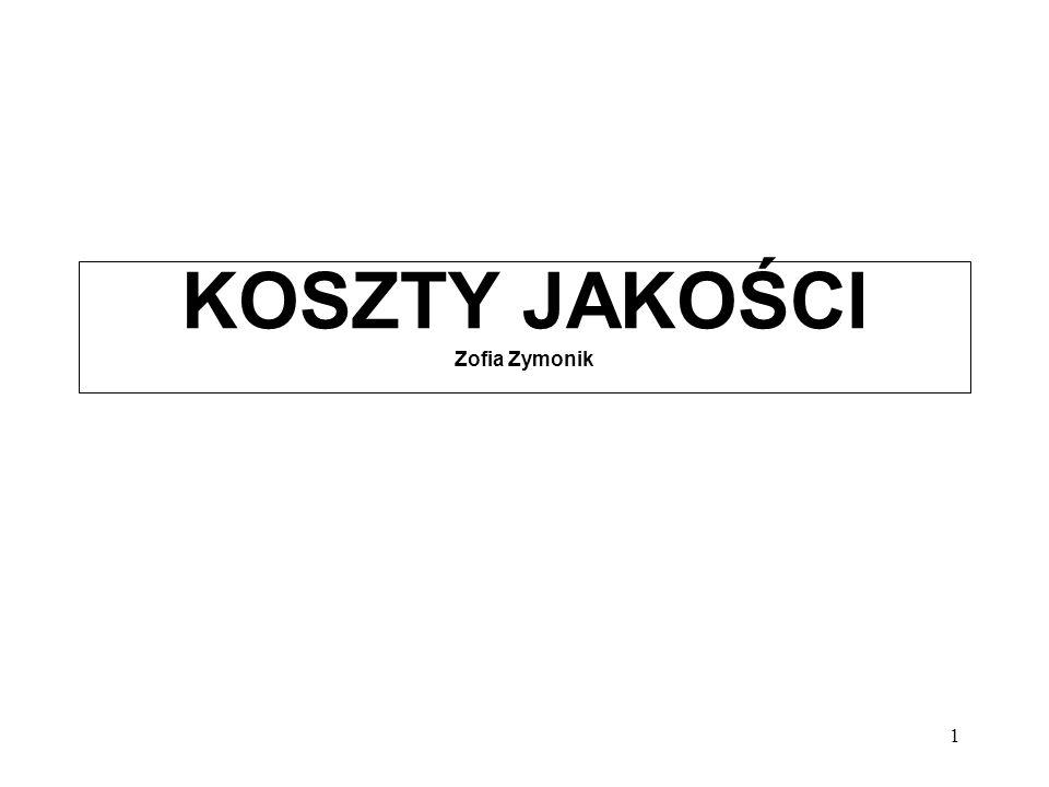 12 Dokładność obliczeń kosztów związanych z jakością Źródło: Z.Zymonik