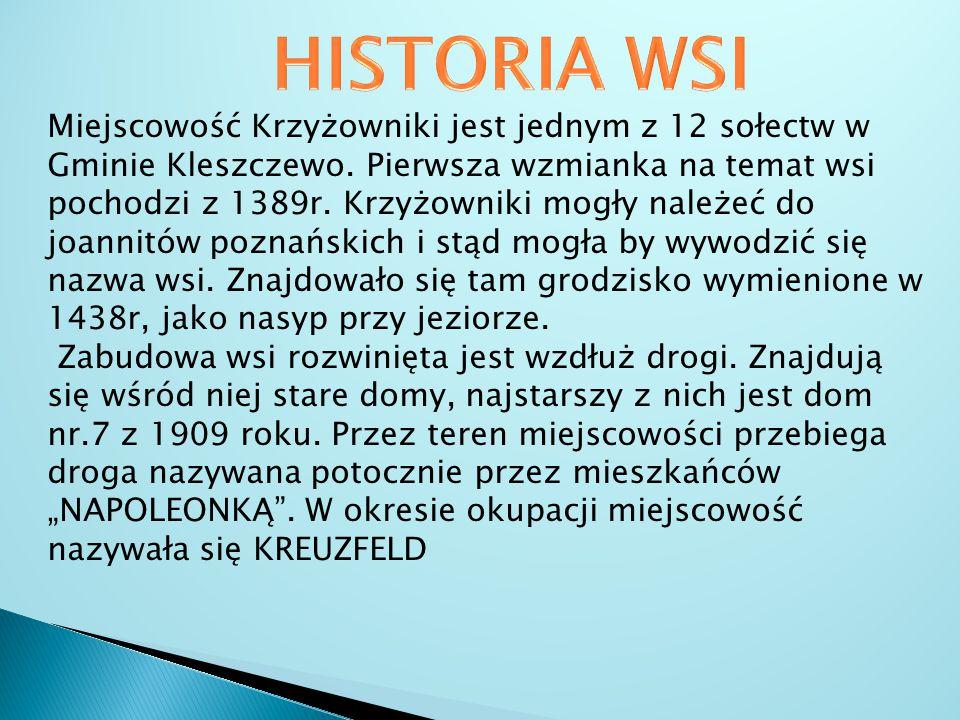 Miejscowość Krzyżowniki jest jednym z 12 sołectw w Gminie Kleszczewo. Pierwsza wzmianka na temat wsi pochodzi z 1389r. Krzyżowniki mogły należeć do jo