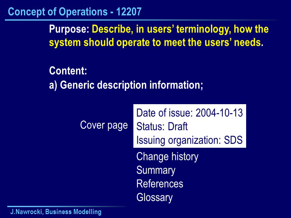 J.Nawrocki, Business Modelling Concept of Operations - 12207 Purpose: Describe, in users' terminology, how the system should operate to meet the users