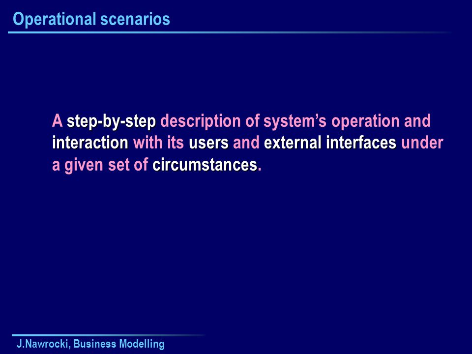 J.Nawrocki, Business Modelling Operational scenarios step-by-step interactionusersexternal interfaces circumstances A step-by-step description of syst