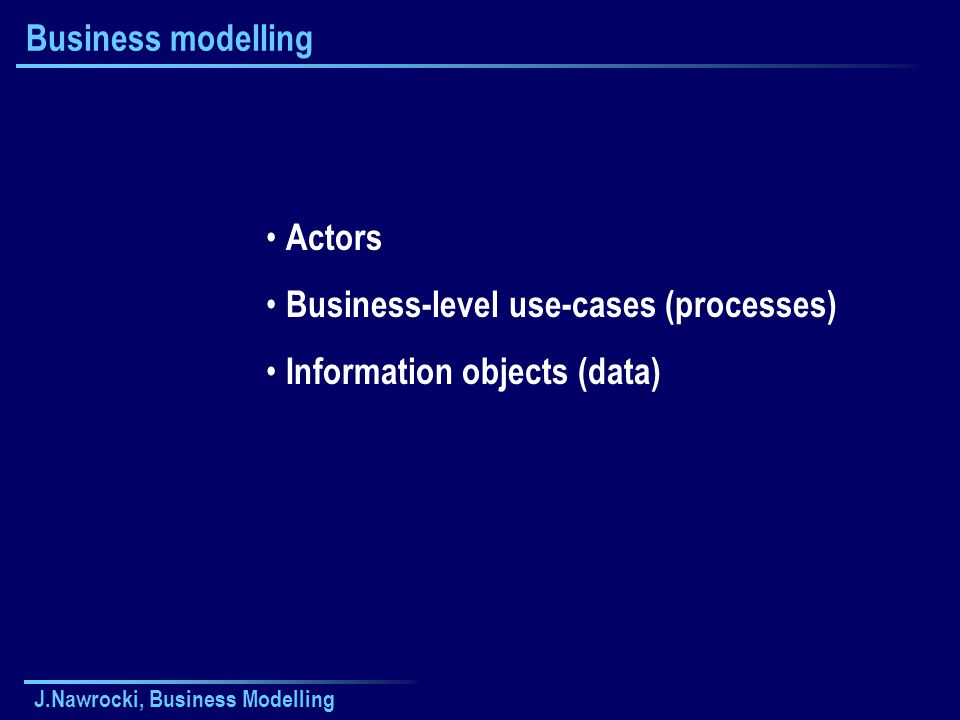J.Nawrocki, Business Modelling Business modelling Actors Business-level use-cases (processes) Information objects (data)