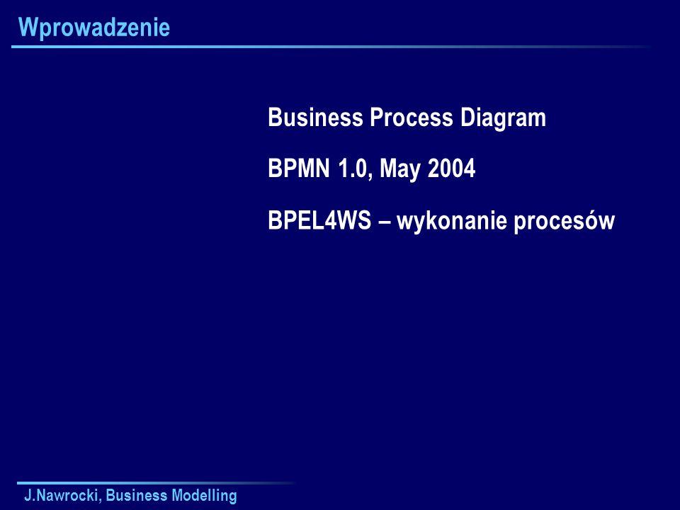 J.Nawrocki, Business Modelling Wprowadzenie Business Process Diagram BPMN 1.0, May 2004 BPEL4WS – wykonanie procesów