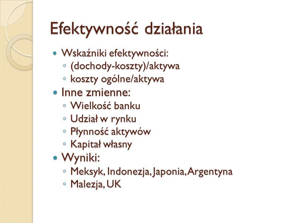 Efektywność działania Wskaźniki efektywności: Wskaźniki efektywności: ◦ (dochody-koszty)/aktywa ◦ koszty ogólne/aktywa Inne zmienne: Inne zmienne: ◦ Wielkość banku ◦ Udział w rynku ◦ Płynność aktywów ◦ Kapitał własny Wyniki: Wyniki: ◦ Meksyk, Indonezja, Japonia, Argentyna ◦ Malezja, UK