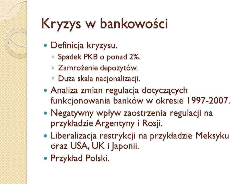 Kryzys w bankowości Definicja kryzysu. Definicja kryzysu. ◦ Spadek PKB o ponad 2%. ◦ Zamrożenie depozytów. ◦ Duża skala nacjonalizacji. Analiza zmian