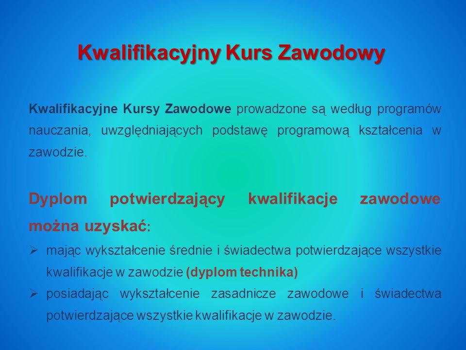 Kwalifikacyjny Kurs Zawodowy Kwalifikacyjne Kursy Zawodowe prowadzone są według programów nauczania, uwzględniających podstawę programową kształcenia w zawodzie.