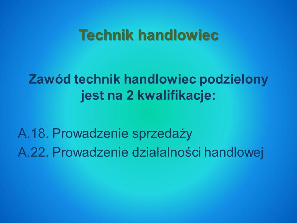 Zawód technik handlowiec podzielony jest na 2 kwalifikacje: A.18.