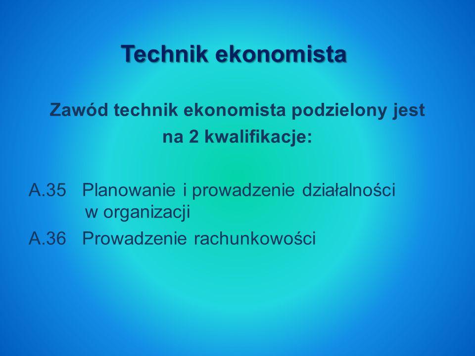 Zawód technik ekonomista podzielony jest na 2 kwalifikacje: A.35 Planowanie i prowadzenie działalności w organizacji A.36 Prowadzenie rachunkowości
