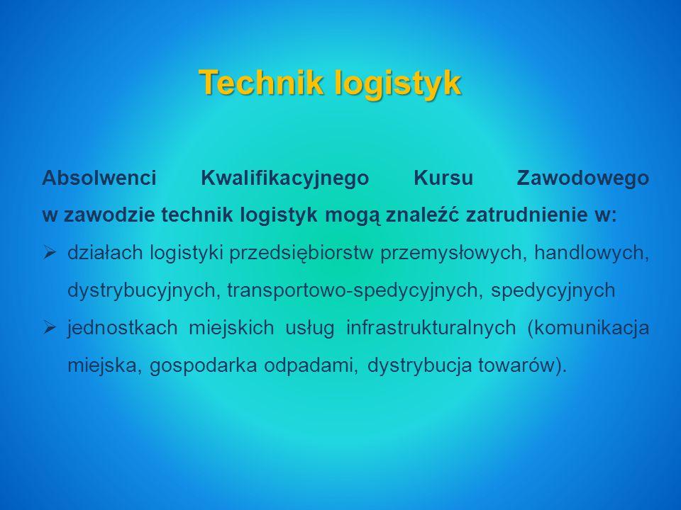Technik logistyk Absolwenci Kwalifikacyjnego Kursu Zawodowego w zawodzie technik logistyk mogą znaleźć zatrudnienie w:  działach logistyki przedsiębiorstw przemysłowych, handlowych, dystrybucyjnych, transportowo-spedycyjnych, spedycyjnych  jednostkach miejskich usług infrastrukturalnych (komunikacja miejska, gospodarka odpadami, dystrybucja towarów).