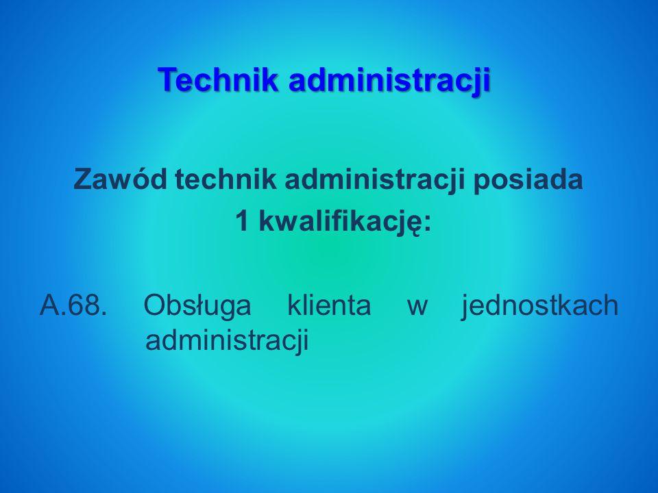 Zawód technik administracji posiada 1 kwalifikację: A.68.