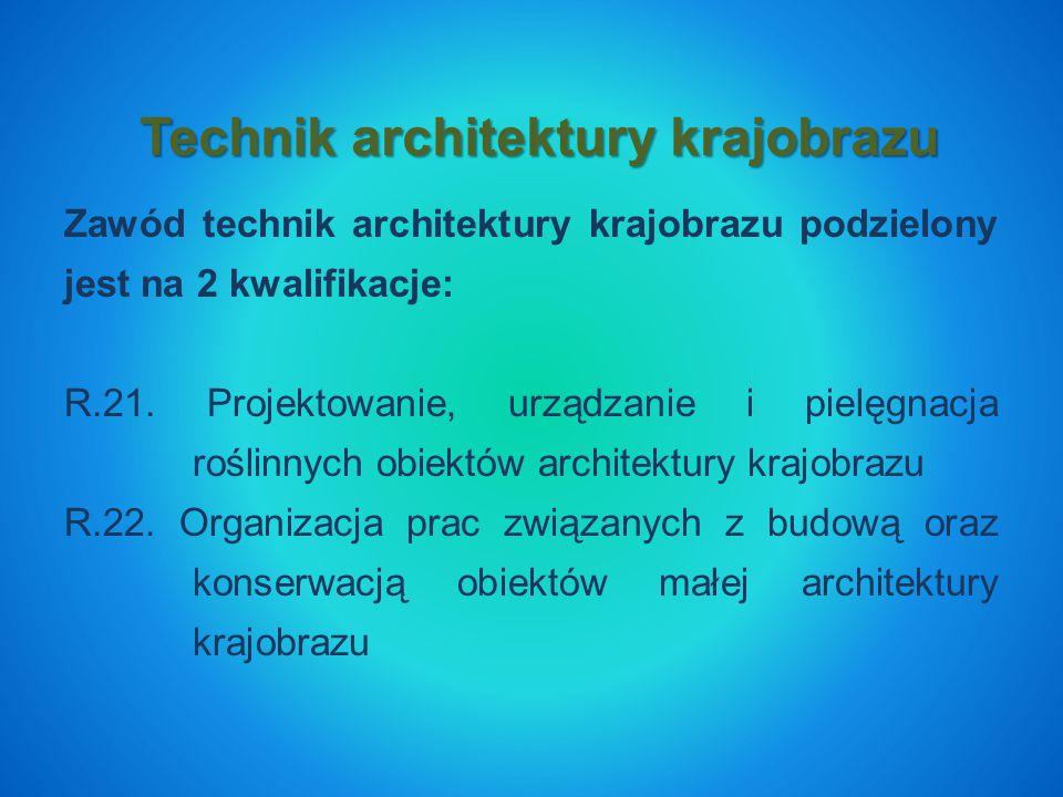Zawód technik architektury krajobrazu podzielony jest na 2 kwalifikacje: R.21.