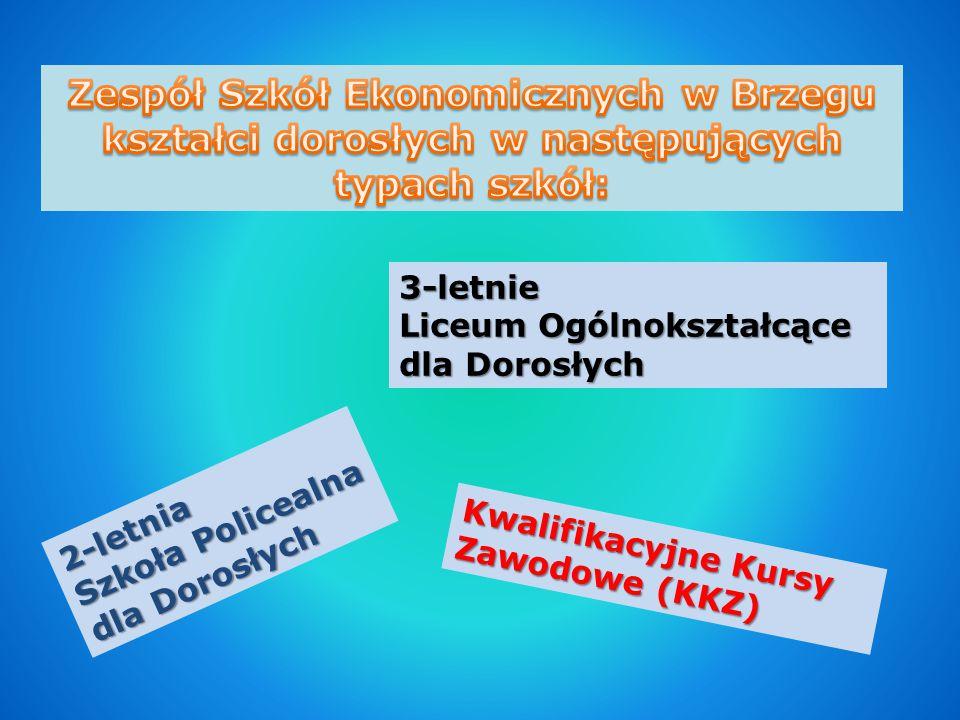 3-letnie Liceum Ogólnokształcące dla Dorosłych 2-letnia Szkoła Policealna dla Dorosłych Kwalifikacyjne Kursy Zawodowe (KKZ)