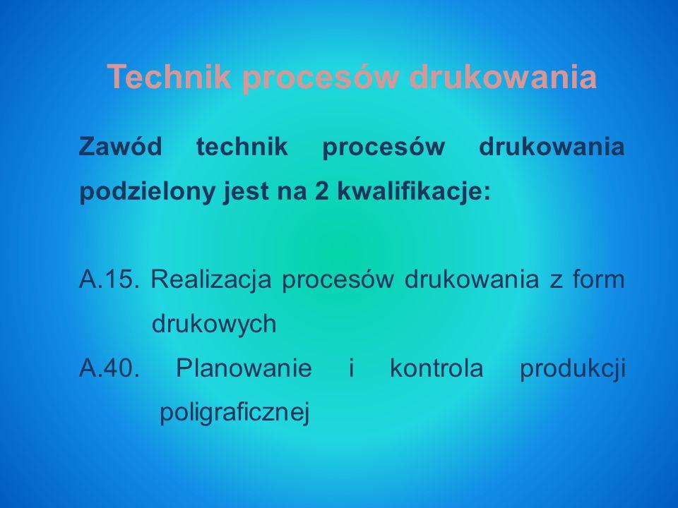 Zawód technik procesów drukowania podzielony jest na 2 kwalifikacje: A.15.