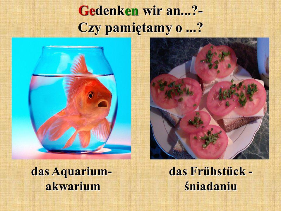 Gedenken wir an...?- Czy pamiętamy o...? das Aquarium- akwarium das Frühstück - śniadaniu