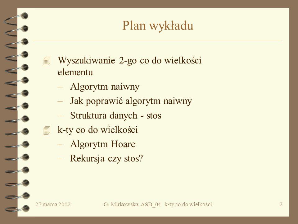 27 marca 2002G.Mirkowska, ASD_04 k-ty co do wielkości22 Jak to działa.