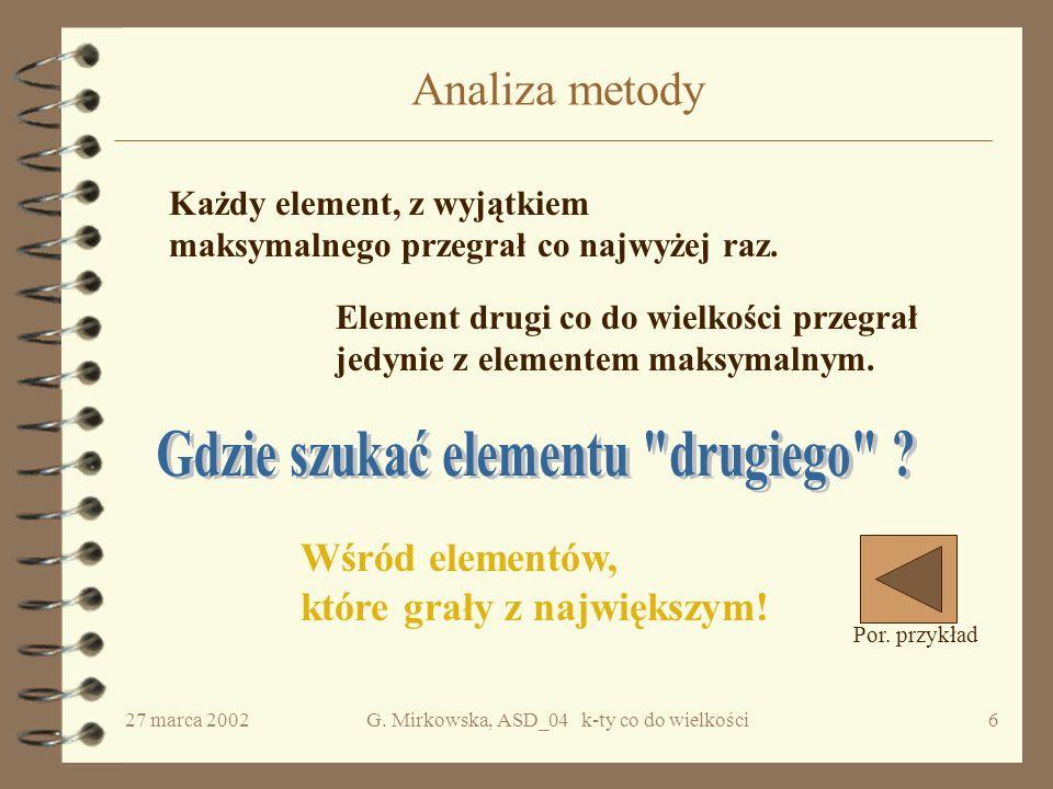 27 marca 2002G.Mirkowska, ASD_04 k-ty co do wielkości16 Pierwsze rozwiązanie Krok1.