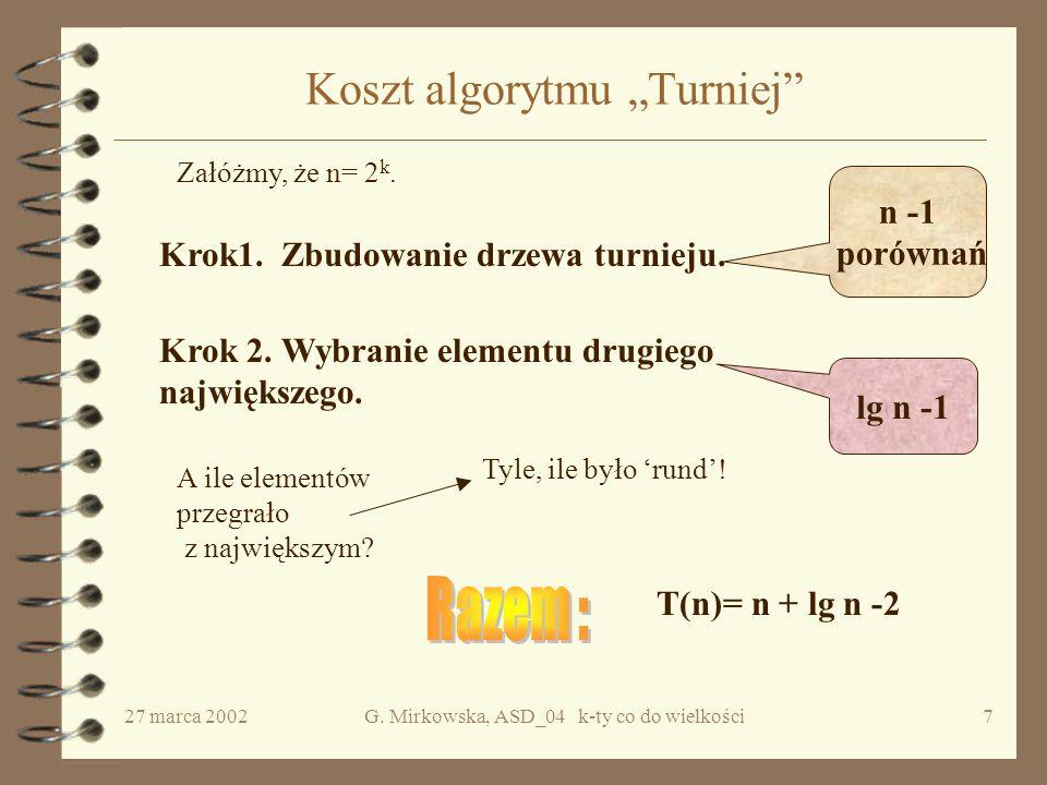 """27 marca 2002G.Mirkowska, ASD_04 k-ty co do wielkości7 Koszt algorytmu """"Turniej Krok1."""