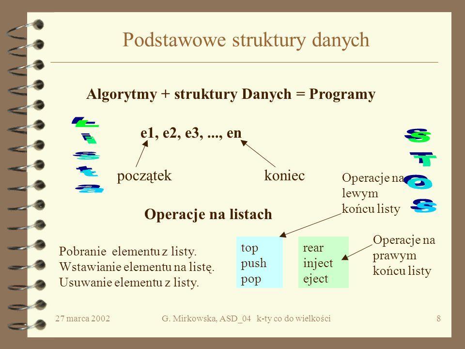 """27 marca 2002G. Mirkowska, ASD_04 k-ty co do wielkości7 Koszt algorytmu """"Turniej Krok1."""