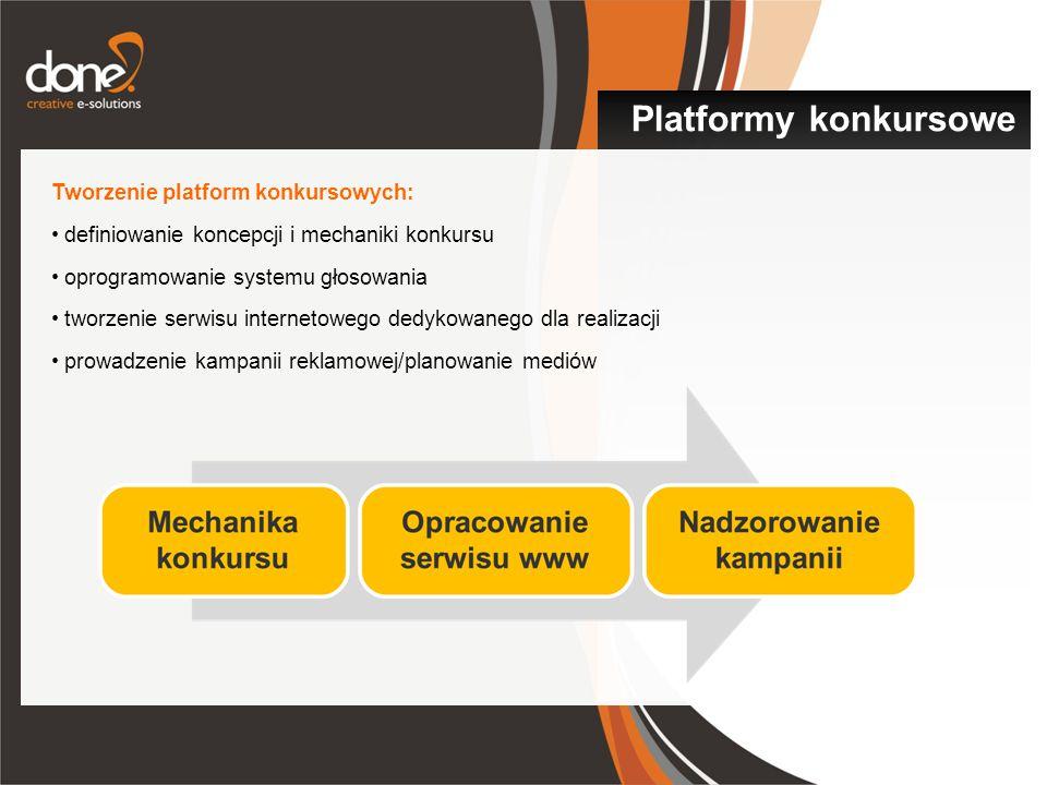 Tworzenie platform konkursowych: definiowanie koncepcji i mechaniki konkursu oprogramowanie systemu głosowania tworzenie serwisu internetowego dedykowanego dla realizacji prowadzenie kampanii reklamowej/planowanie mediów Platformy konkursowe