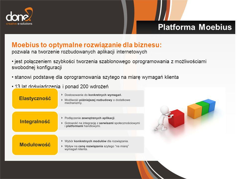Moebius to optymalne rozwiązanie dla biznesu: pozwala na tworzenie rozbudowanych aplikacji internetowych jest połączeniem szybkości tworzenia szablonowego oprogramowania z możliwościami swobodnej konfiguracji stanowi podstawę dla oprogramowania szytego na miarę wymagań klienta 13 lat doświadczenia i ponad 200 wdrożeń Platforma Moebius