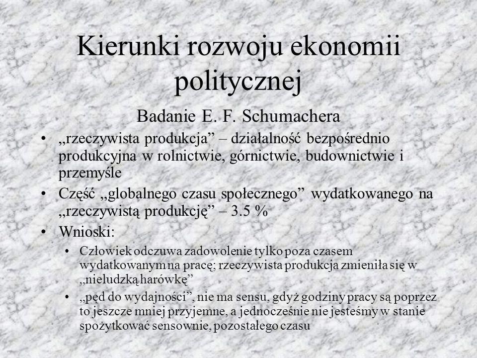 Kierunki rozwoju ekonomii politycznej Badanie E. F.