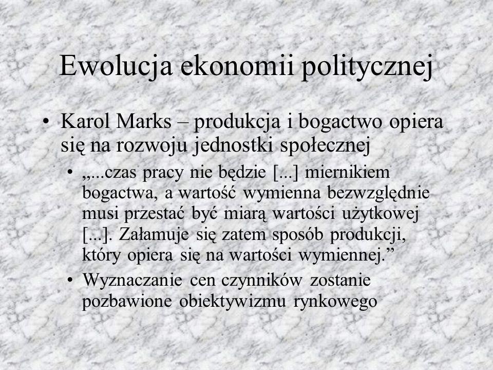"""Ewolucja ekonomii politycznej Karol Marks – produkcja i bogactwo opiera się na rozwoju jednostki społecznej """"...czas pracy nie będzie [...] miernikiem bogactwa, a wartość wymienna bezwzględnie musi przestać być miarą wartości użytkowej [...]."""