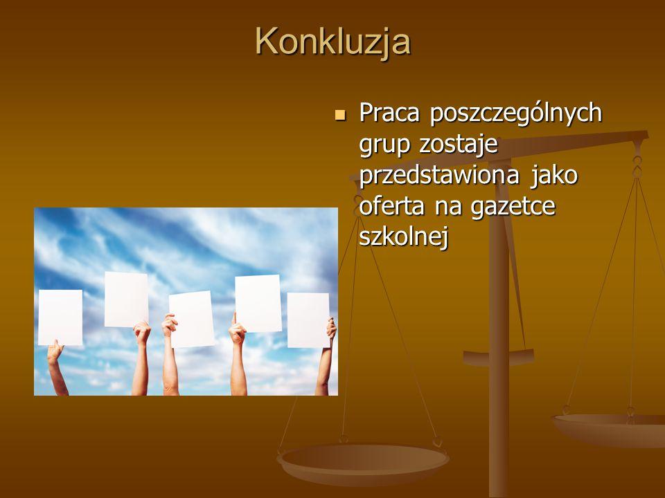 Konkluzja Praca poszczególnych grup zostaje przedstawiona jako oferta na gazetce szkolnej Praca poszczególnych grup zostaje przedstawiona jako oferta na gazetce szkolnej
