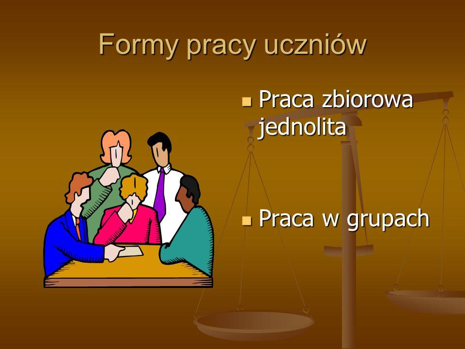 Formy pracy uczniów Praca zbiorowa jednolita Praca w grupach